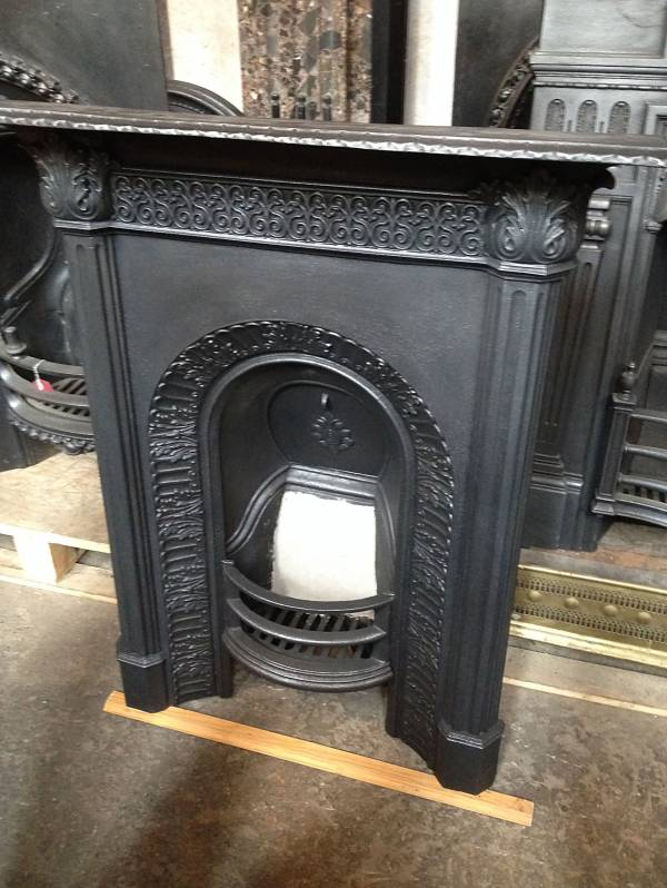 Edwardian cast iron combination fireplace. 14546692420073