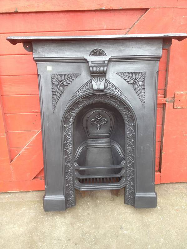 Victorian arch combination fireplace with fern design. cast iron 14546692429594
