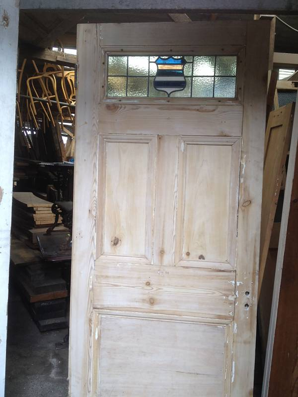 Attractive single glazed leaded light softwood 5 panel door, stripped pine door 14546692159318