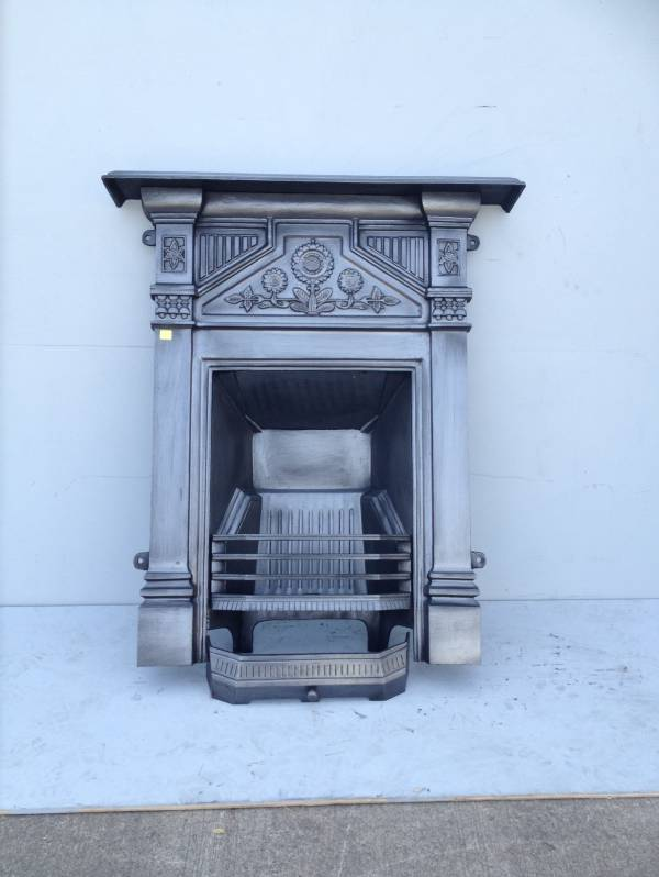 Black reproduction Arts and Crafts combination fire place