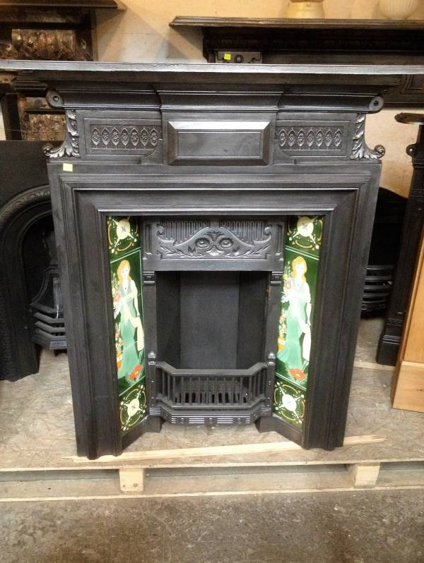 Edwardian combination tiled fireplace