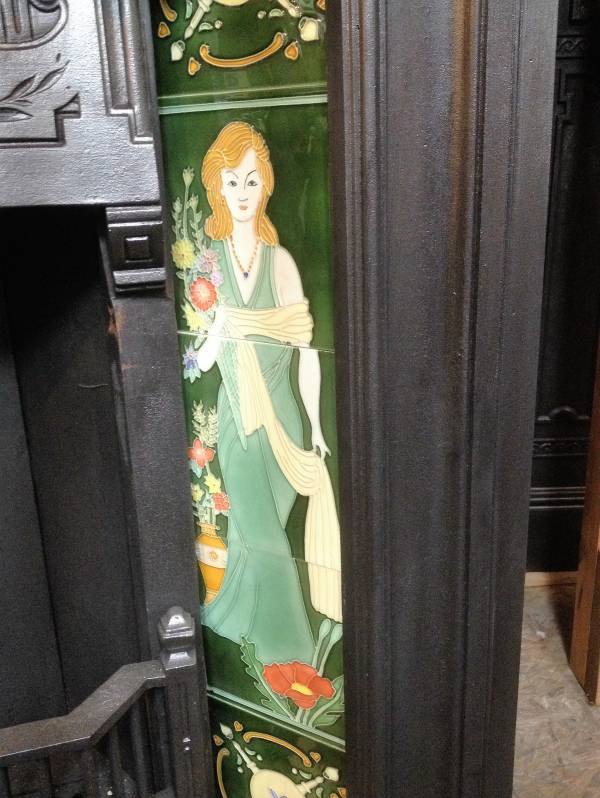 Edwardian  fireplace tiles detail; full height female portrait